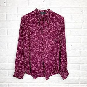 LULU'S Tie Front Polka Dot Button Down Blouse